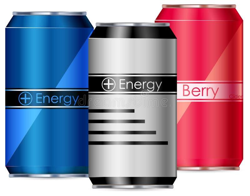 Tre cans av energidrinkar vektor illustrationer