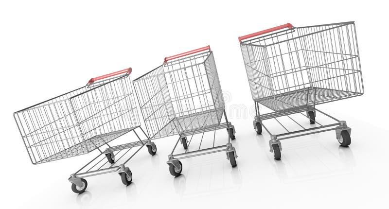 Tre carrelli di acquisto illustrazione vettoriale