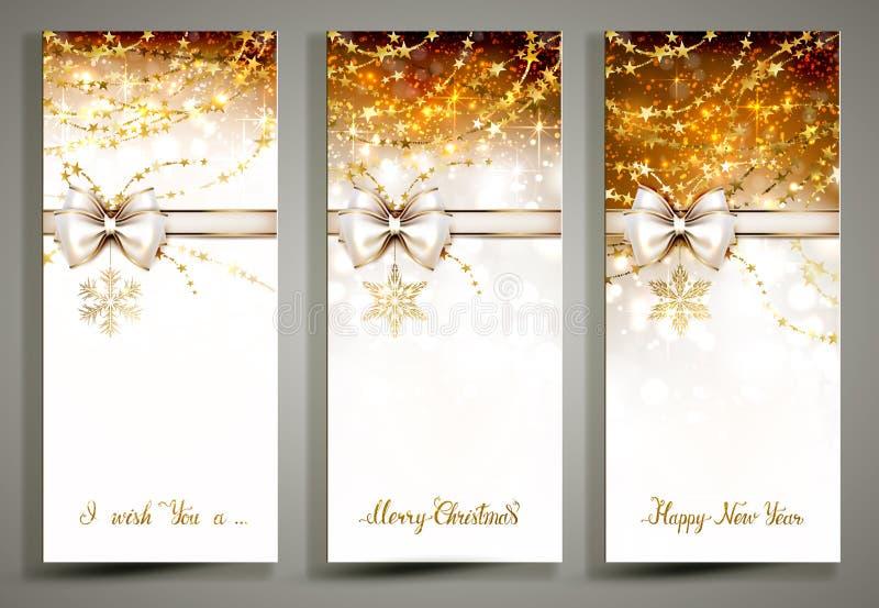 Tre cartoline d'auguri di Natale dell'oro con l'arco illustrazione di stock