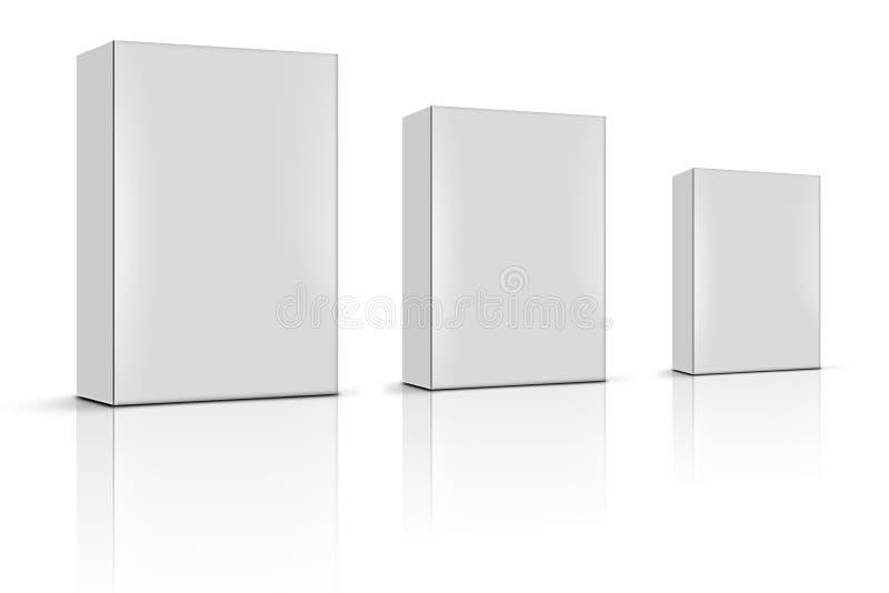 Tre caselle in bianco del prodotto royalty illustrazione gratis