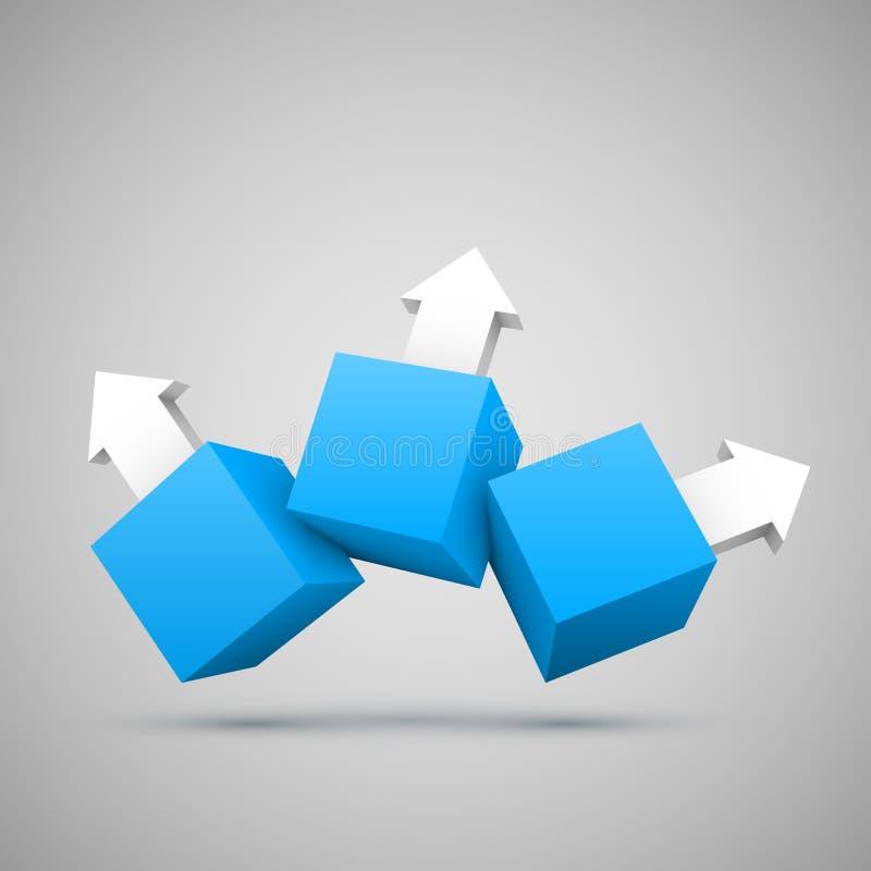 Tre caselle blu con le frecce 3D illustrazione di stock