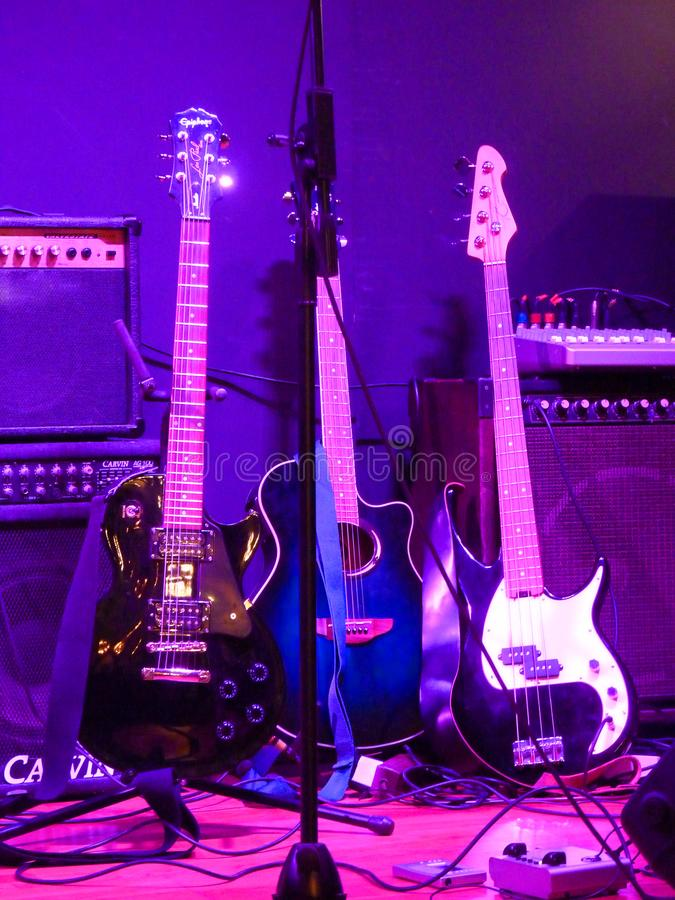 Tre chitarre fotografie stock