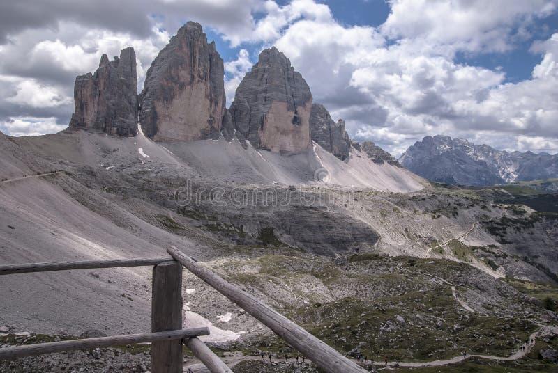 Tre Cime de Lavaredo-berg Italië stock foto's