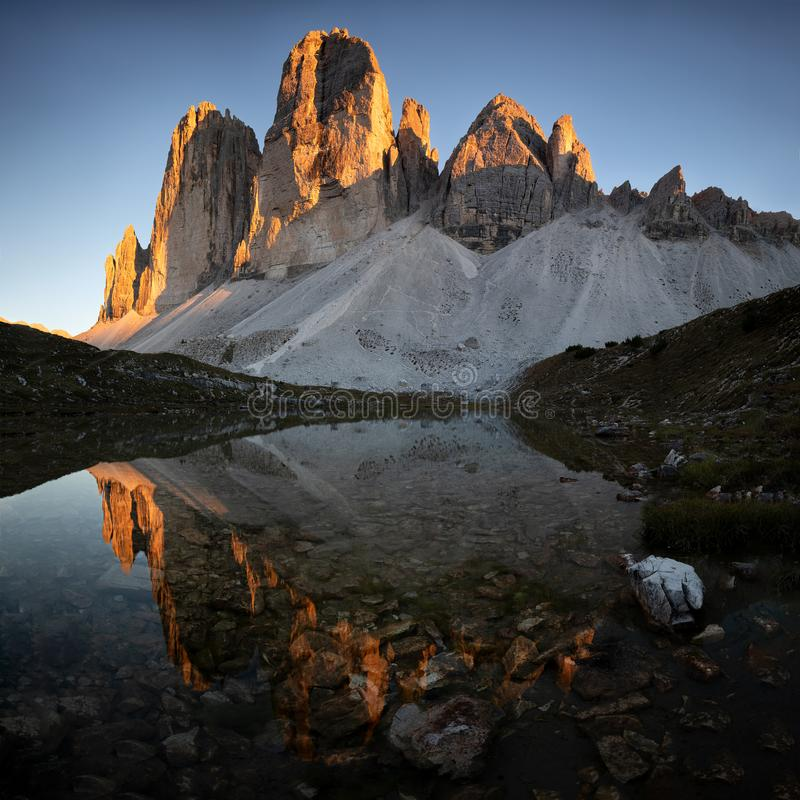 Tre Cime Di Lavaredo,白云岩意大利,阿尔卑斯 库存图片