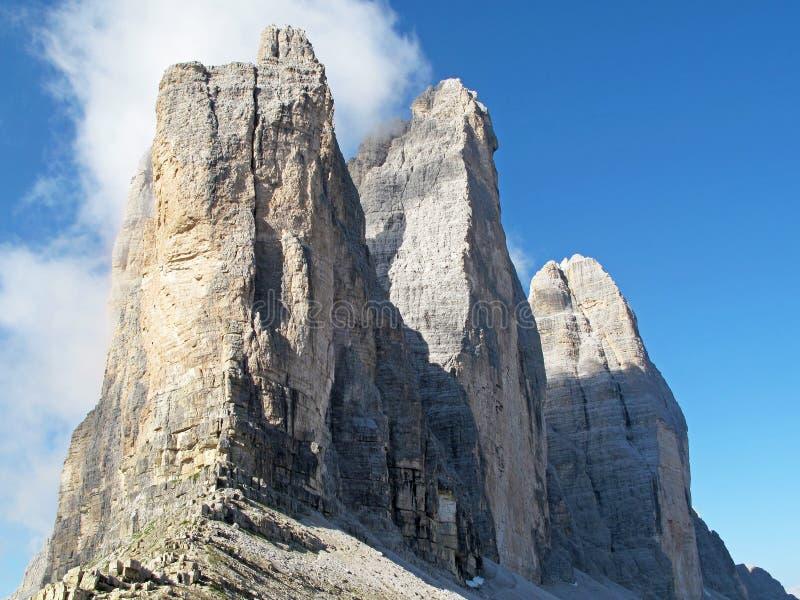 Tre Cime Di Lavaredo, Dolimite ` s,意大利阿尔卑斯,欧洲三个山峰  免版税库存图片