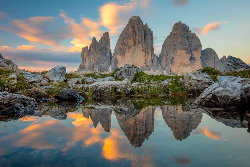 Cartina 3 Cime Di Lavaredo.Tre Cime Di Lavaredo A Bella Alba Italia Europa Fotografia Stock Immagine Di Esterno Sole 78605518