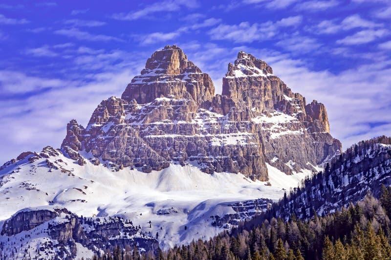 Tre Cime di Lavaredo im Winter lizenzfreie stockfotografie