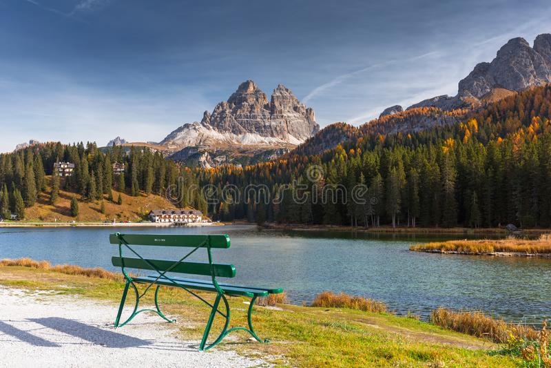 The Tre Cime di Lavaredo mountains at Lago di Misurina lake, Dolomites. South Tyrol, Italy stock photo