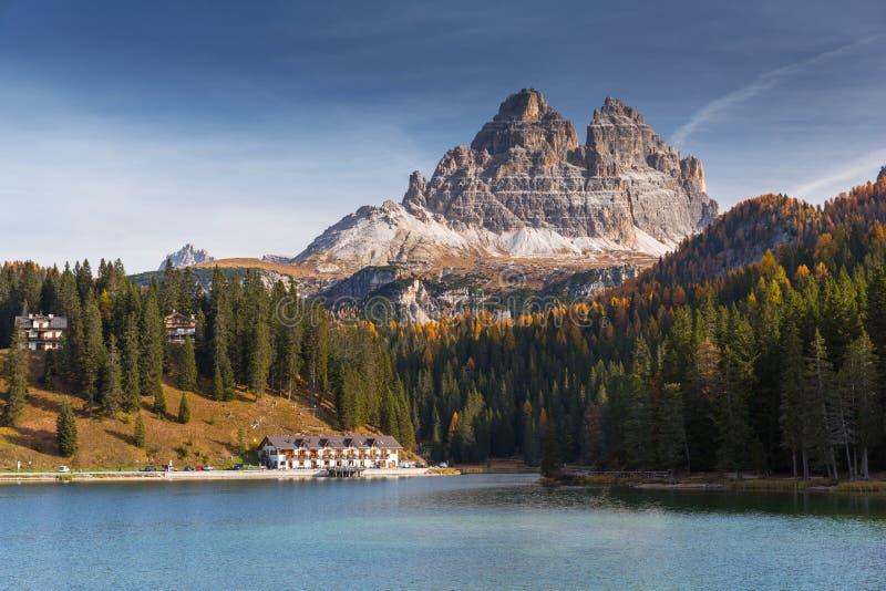 The Tre Cime di Lavaredo mountains at Lago di Misurina lake, Dolomites. South Tyrol, Italy stock image