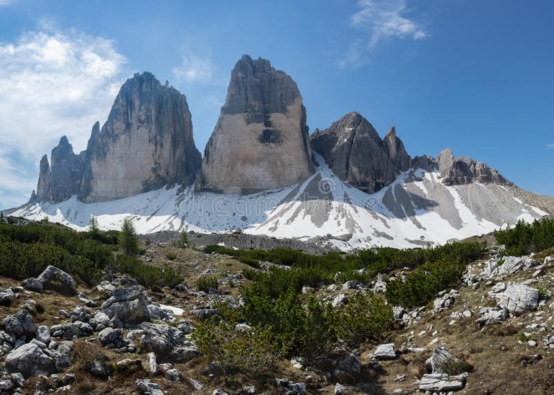 Tre Cime mountain. Cima Piccola, Cima Grande and Cima Ovest, Italy. Tre Cime mountain. Cima Piccola, Cima Grande and Cima Ovest. Italian Alps royalty free stock image