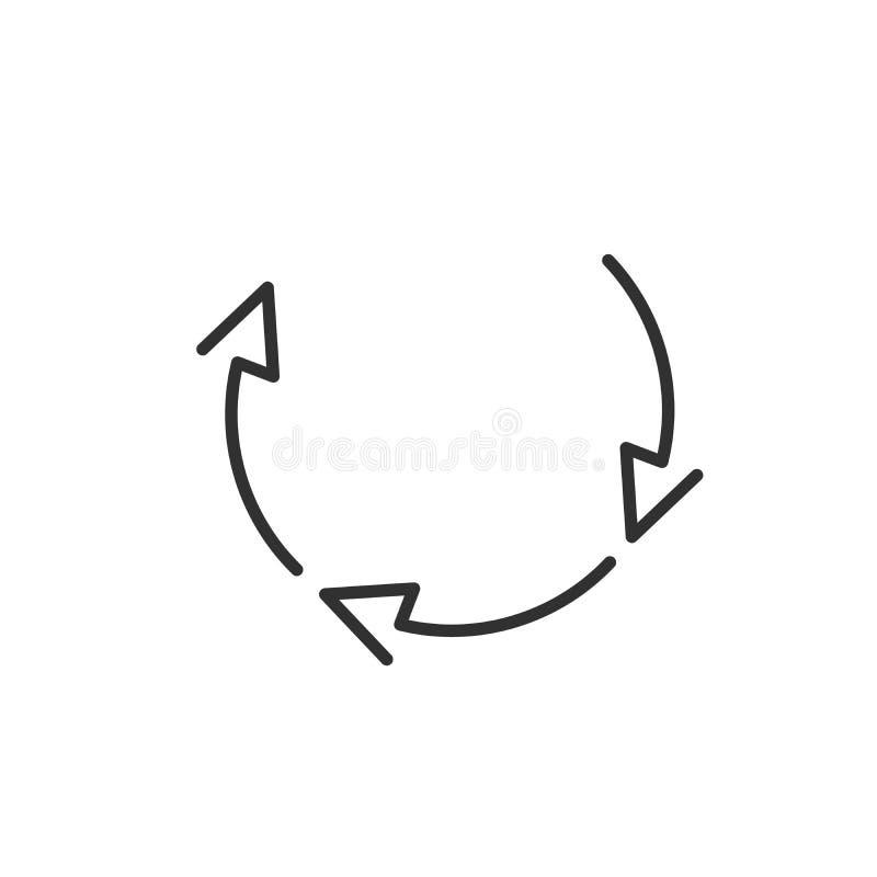 Tre cirkelpilar för infographic Enkel plan symbol för 360 diagram Linjära översiktspilar med den redigerbara slaglängden ocks? ve royaltyfri illustrationer