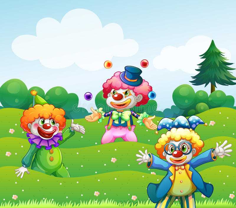 Tre clowner på trädgården vektor illustrationer