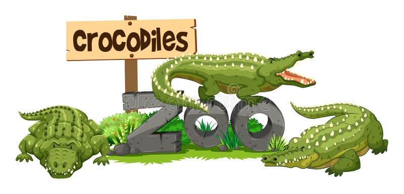 Tre coccodrilli nello zoo royalty illustrazione gratis