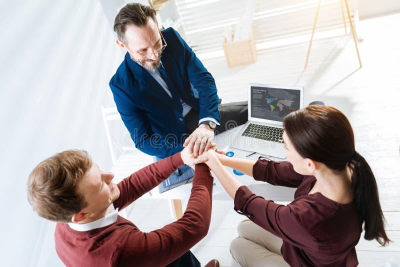 Tre colleghi allegri che preparano al successo immagine stock libera da diritti