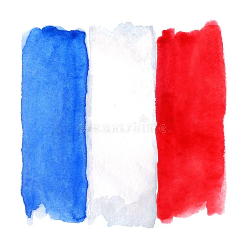A tre colori della bandiera 3 del francese della Francia dell'acquerello isolato illustrazione vettoriale