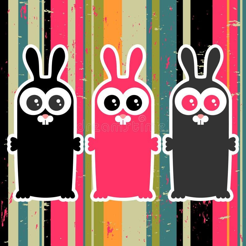Tre coniglietti divertenti illustrazione vettoriale
