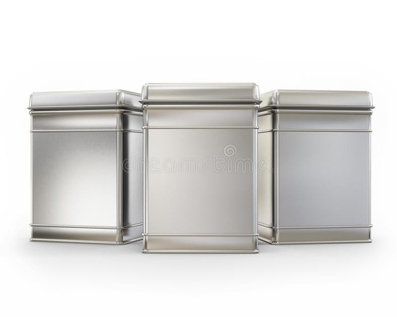 Tre contenitori in bianco di metallo con i cappucci isolati su fondo bianco illustrazione vettoriale