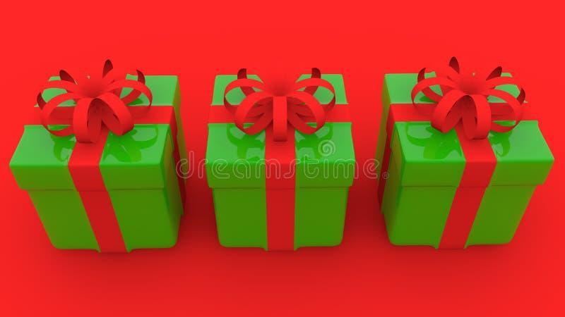 Tre contenitori di regalo nel verde su rosso royalty illustrazione gratis
