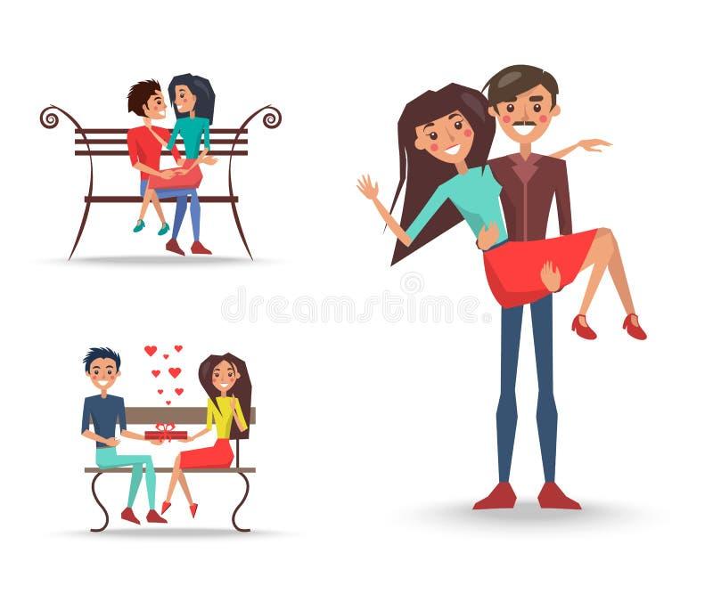 Tre coppie graziose nell'amore su fondo bianco royalty illustrazione gratis