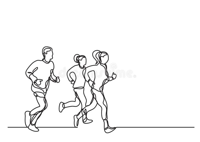 Tre corridori - disegno a tratteggio continuo illustrazione vettoriale
