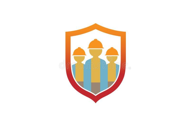 Tre costruttore creativo Shield Logo Design Symbol Vector Illustration illustrazione vettoriale