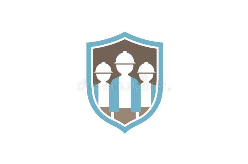 Tre costruttore creativo Shield Logo Design Symbol Vector Illustration royalty illustrazione gratis