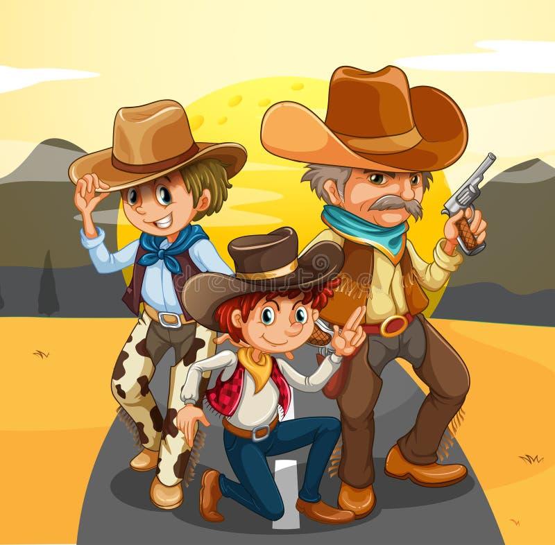 Tre cowboy alla strada royalty illustrazione gratis