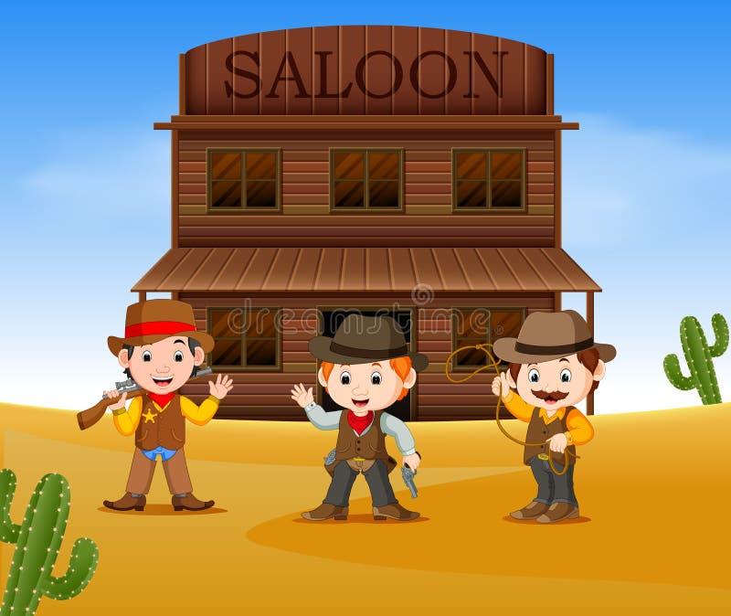 Tre cowboy che tengono pistola e diritti fuori del salone illustrazione di stock