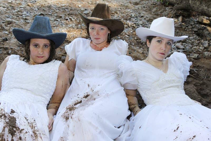 Tre cowgirlbrudar arkivbild