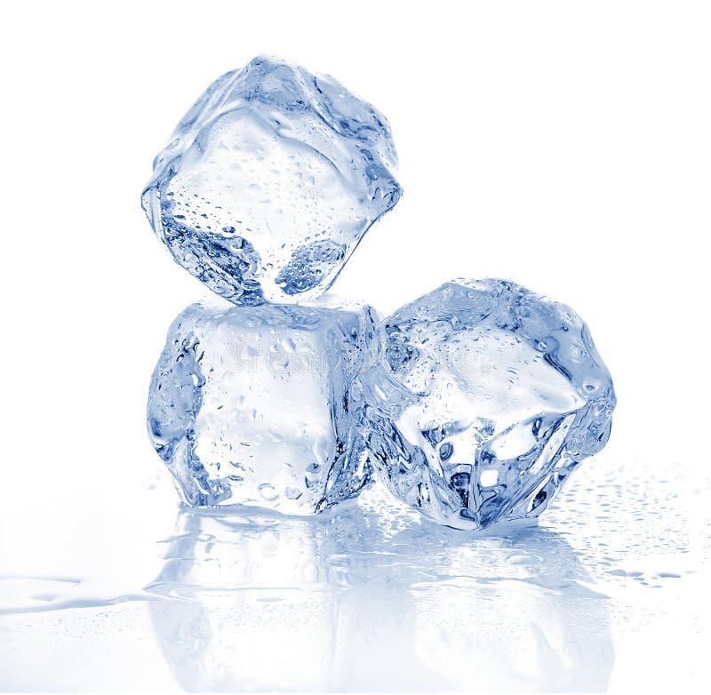 Tre cubetti di ghiaccio di fusione su fondo bianco immagini stock libere da diritti