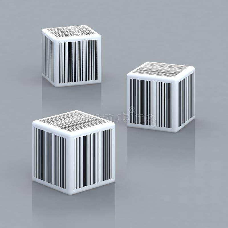 Tre cubi con i codici a barre royalty illustrazione gratis