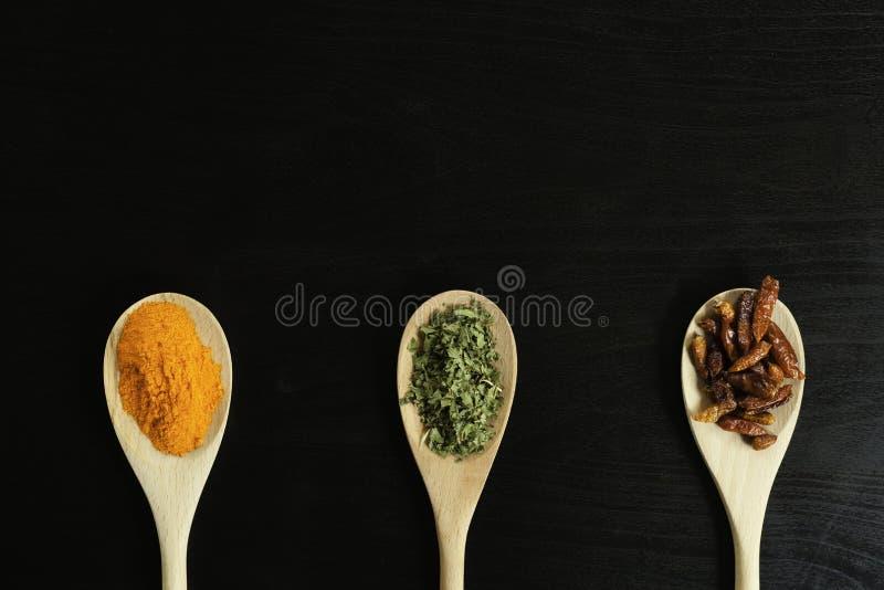 Tre cucchiai di legno con zafferano, origano e peperoncino dall'alto fotografia stock libera da diritti
