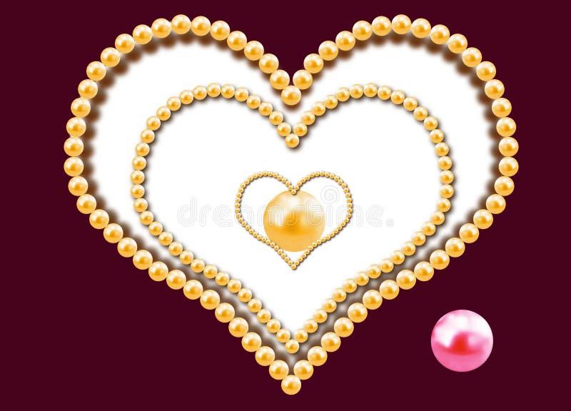 Tre cuori dalle perle illustrazione vettoriale
