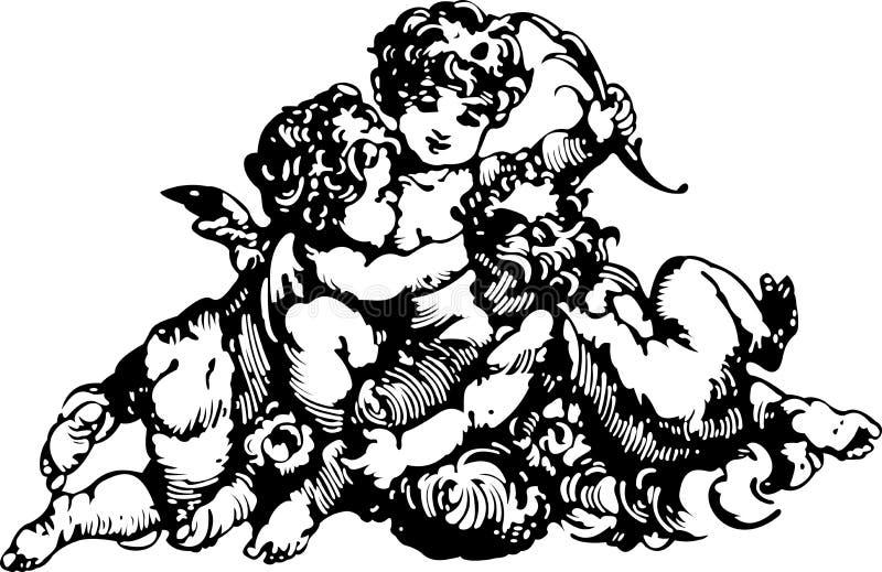 Tre Cupids illustrazione vettoriale