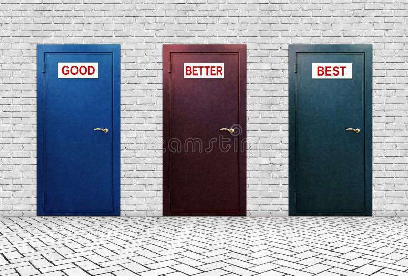 Tre dörrar för bra bättre och bästa arkivfoto
