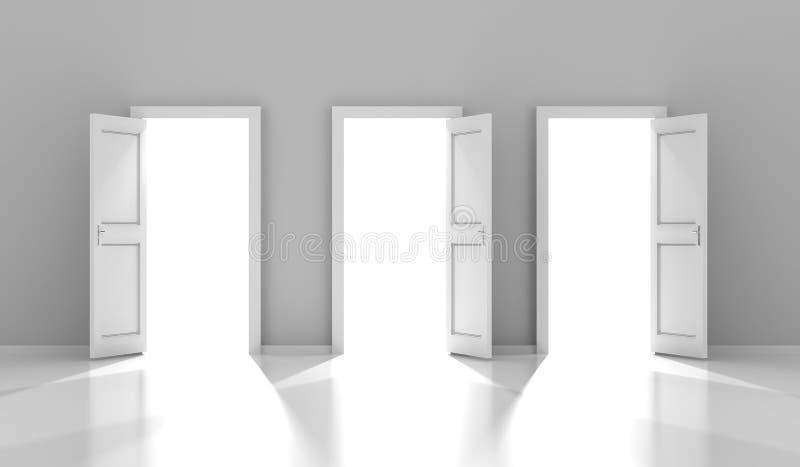 Tre dörrar med copyspace, 3d framför royaltyfri illustrationer