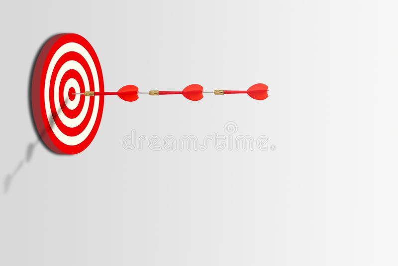 Tre dardi rossi hanno colpito l'obiettivo sul bersaglio, royalty illustrazione gratis