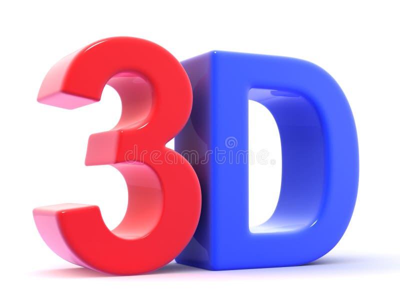 Tre Dee 3d bokstäver royaltyfri illustrationer