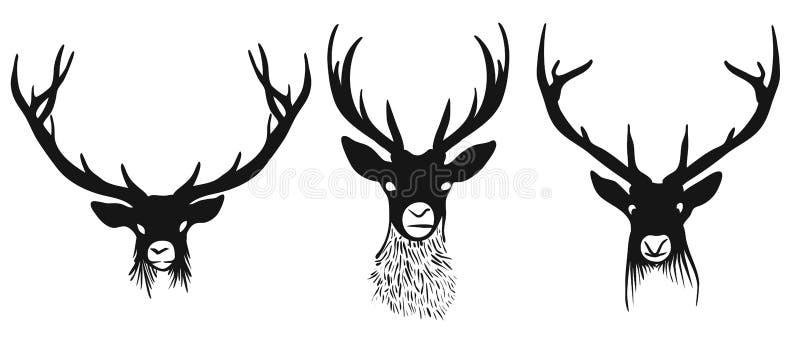 Tre deershuvudkonturer royaltyfri illustrationer