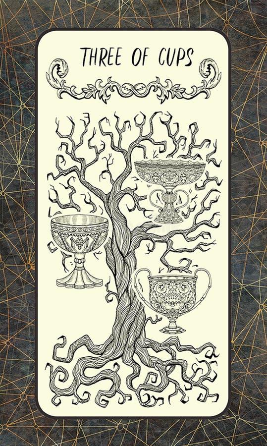 Tre delle tazze La carta di tarocchi magica del portone illustrazione vettoriale