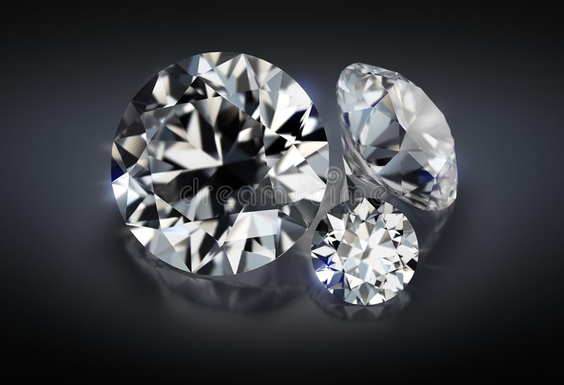 Tre diamanter på en mörk bakgrund stock illustrationer