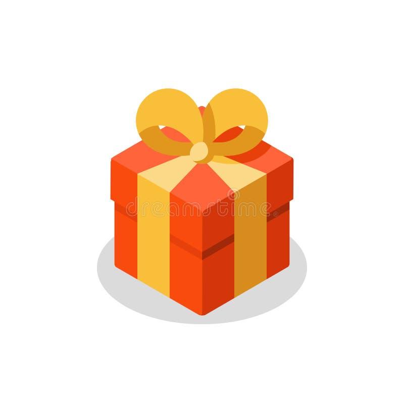 Tre dimensioni del regalo, scatola rossa, nastro giallo, omaggio attuale, premio speciale, buon compleanno illustrazione di stock