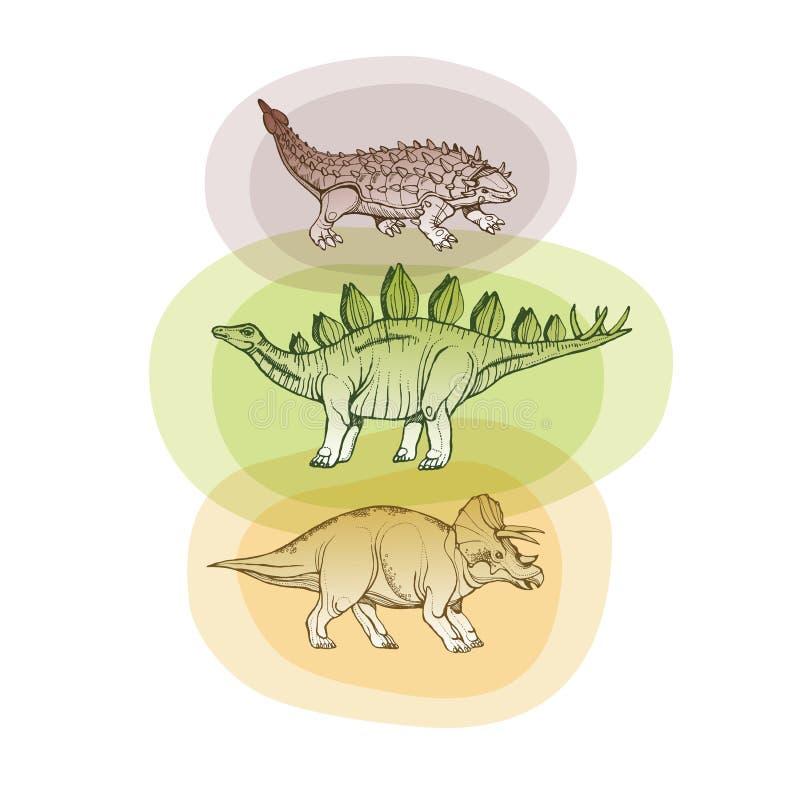 Tre dinosaurier in vektor illustrationer