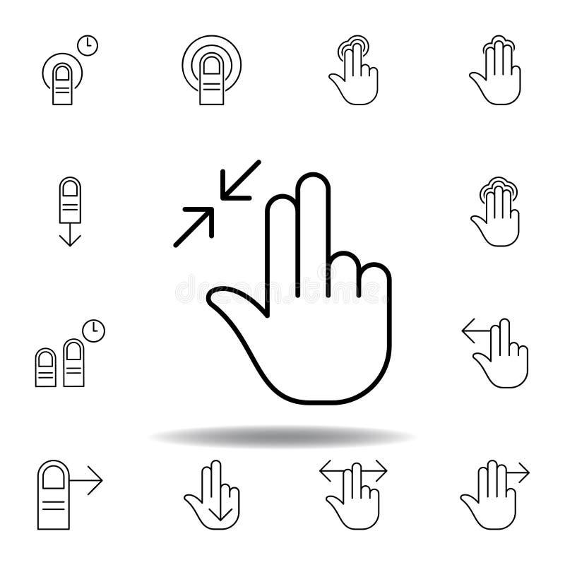 tre dita dentro ridimensionano l'icona del profilo di gesto Metta dell'illustrazione dei gesturies della mano I segni ed i simbol illustrazione vettoriale