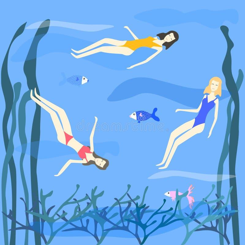 Tre donne che nuotano nell'illustrazione di vettore del mare illustrazione di stock