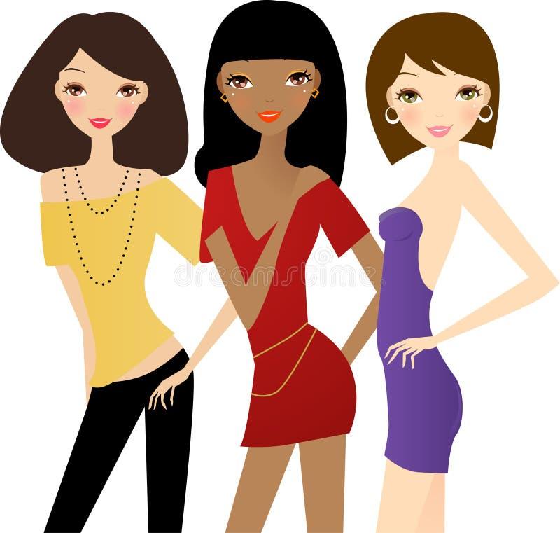 Tre donne di modo illustrazione vettoriale