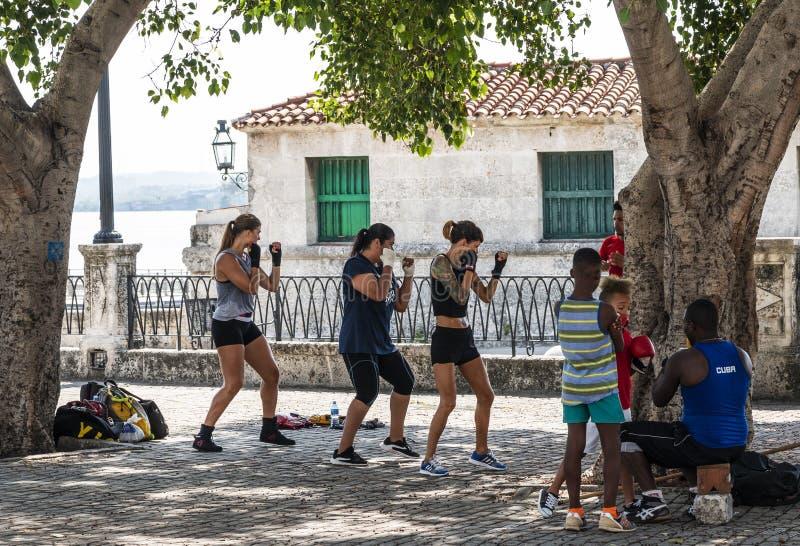 Tre donne e due bambini stanno imparando come inscatolare il basso esterno dall'acqua sotto un albero a Avana fotografia stock libera da diritti