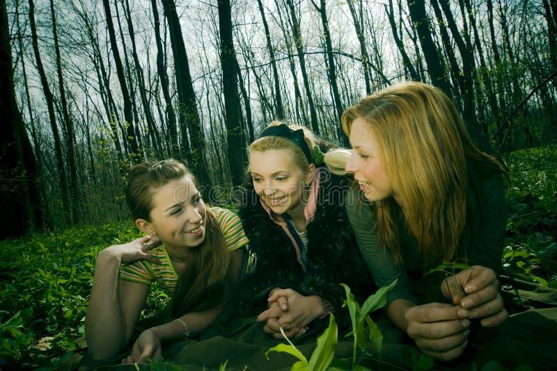 Tre donne nello schiarimento della foresta fotografia stock