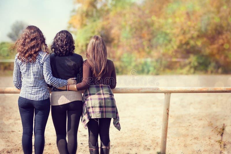 Tre donne sulla vista del ranch-indietro immagine stock libera da diritti