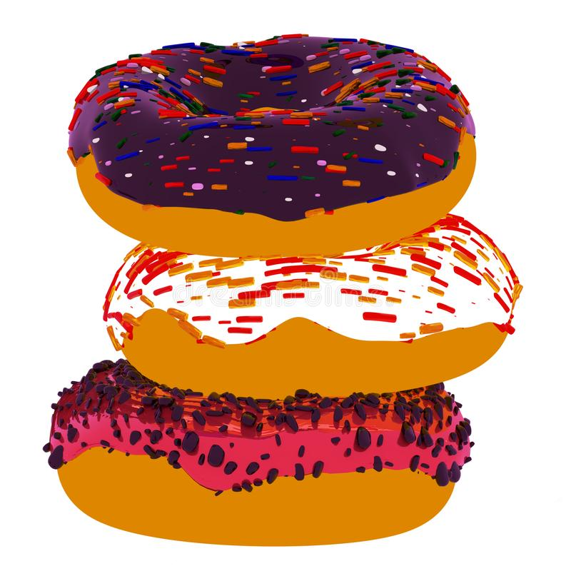 Tre donuts på en vit bakgrund vektor illustrationer